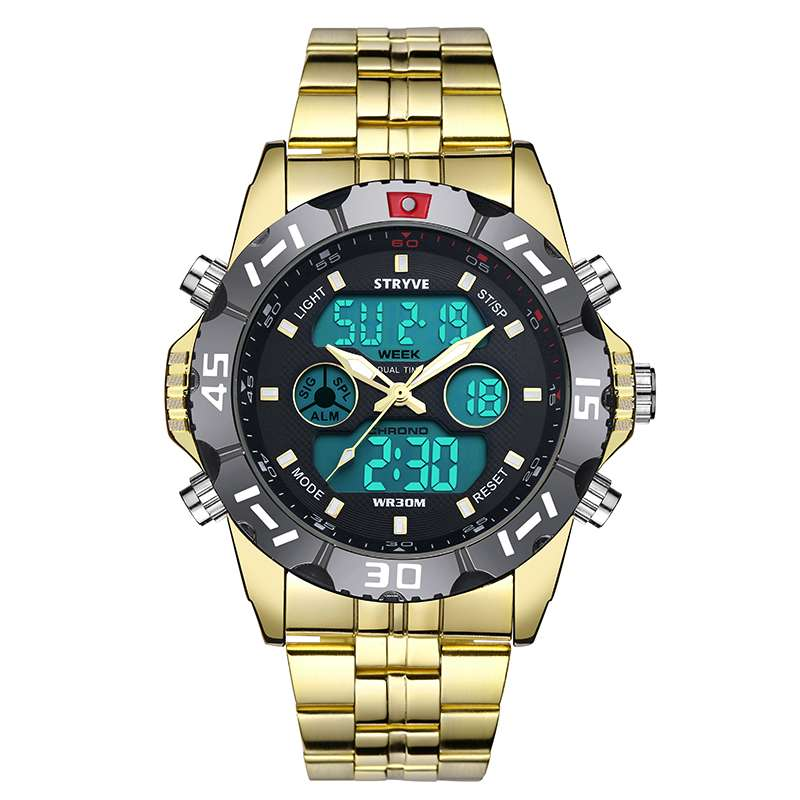 Gold Luxury Stryve Sport Waterproof Exquisite Watch For Men Stainless Steel Digital Quartz Dual Display Watch11