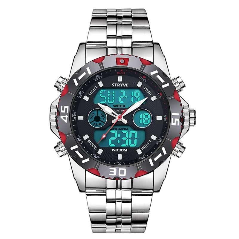 Red Luxury Stryve Sport Waterproof Exquisite Watch For Men Stainless Steel Digital Quartz Dual Display Watch1