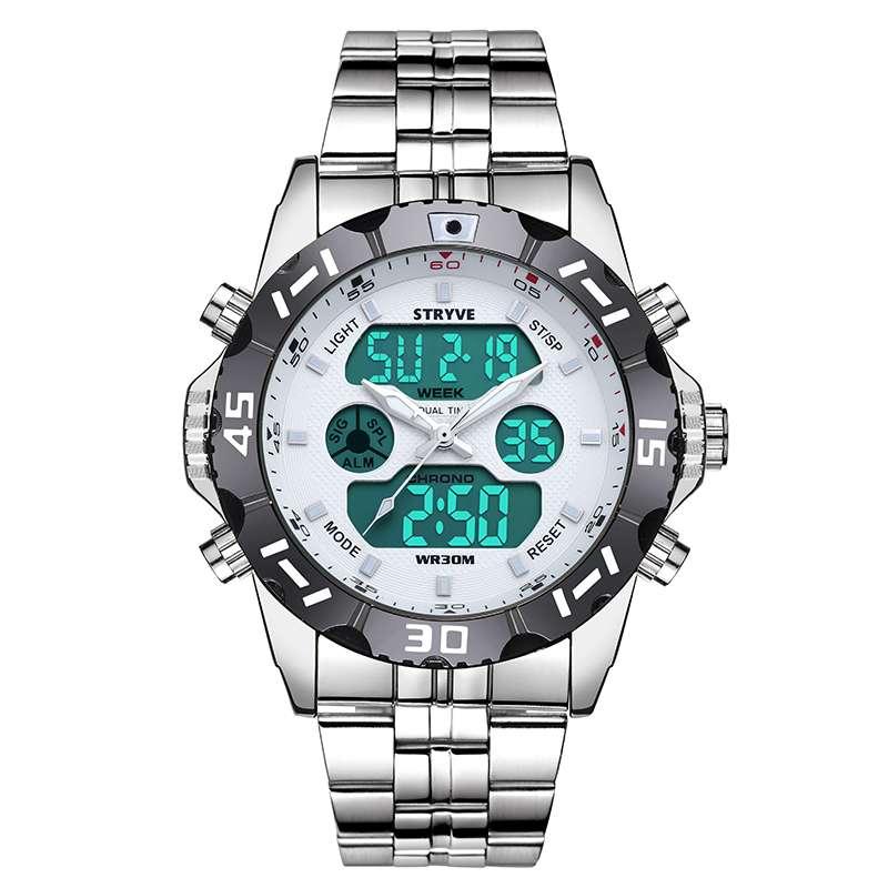 White Luxury Stryve Sport Waterproof Exquisite Watch For Men Stainless Steel Digital Quartz Dual Display Watch111